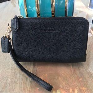 Coach wristlet pre-loved black two zipper